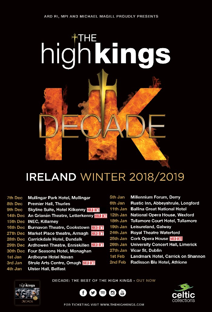 The High Kings Irish Winter Tour Selling Out Fast !