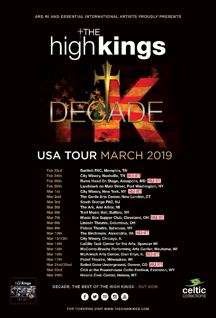 The High Kings US Tour Kicks Off This Week !