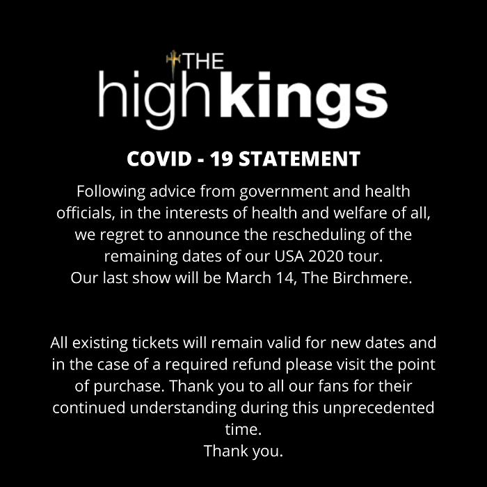 Tour Rescheduling Announcement