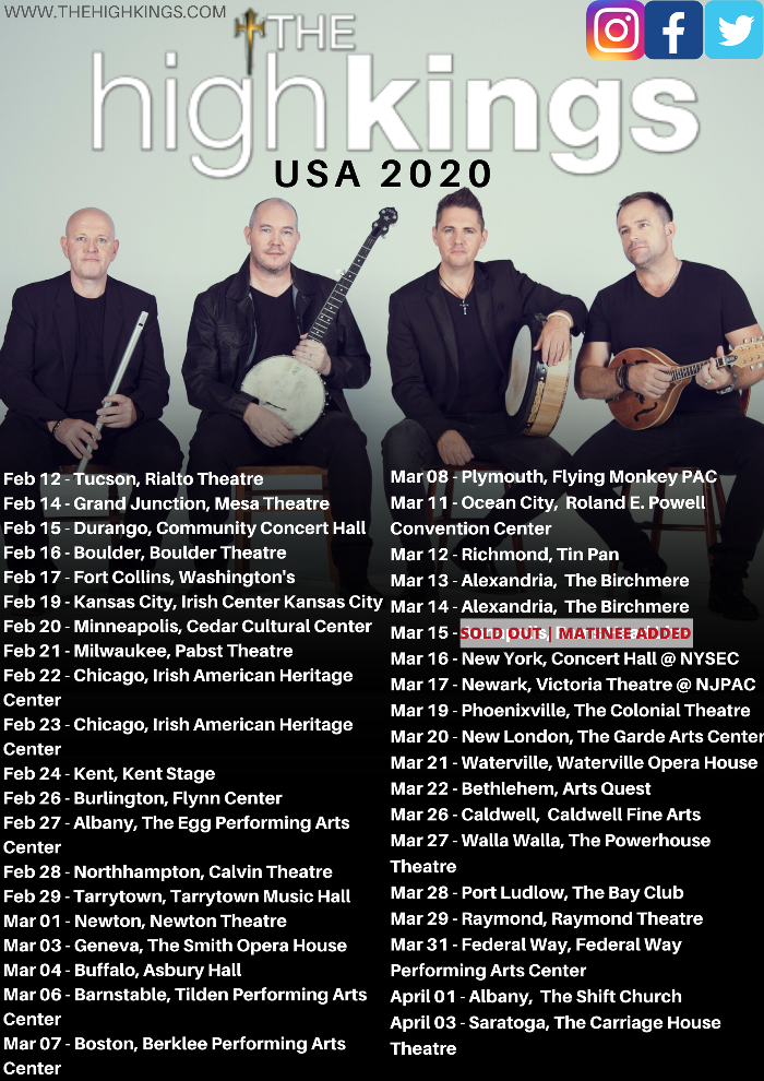 The High Kings 2020 US Tour.