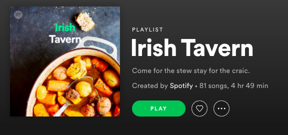 'Irish Tavern' Spotify Playlist features 2 THK songs.