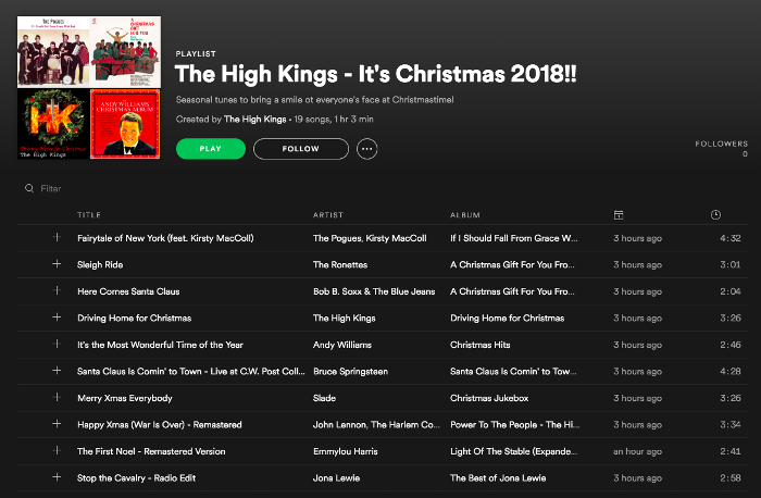 The High Kings 2018 Christmas Playlist