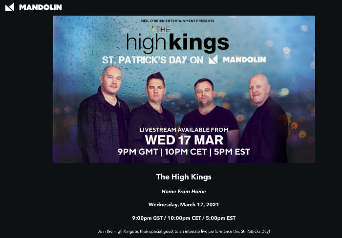 The High Kings have just announced a special livestream for March 17th, St. Patrick's Day.