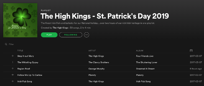 St Patrick's Day 2019 Playlist