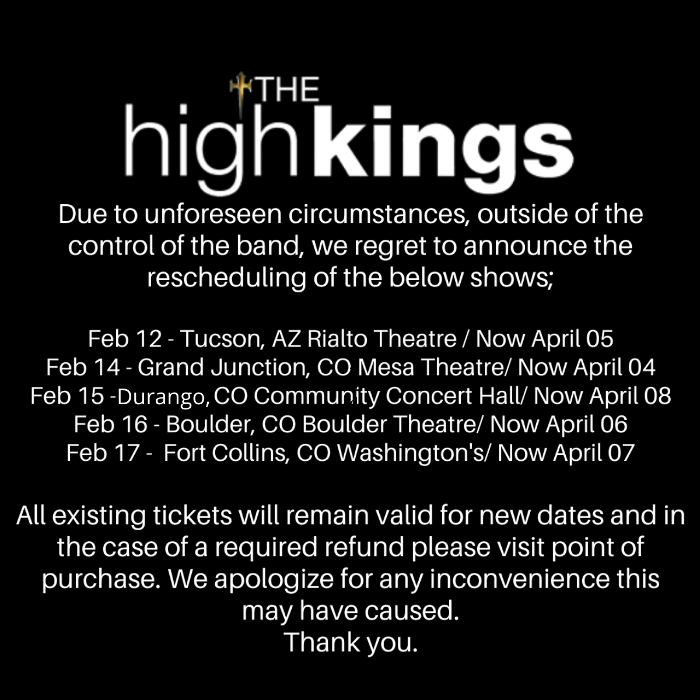Rescheduling of US Shows.
