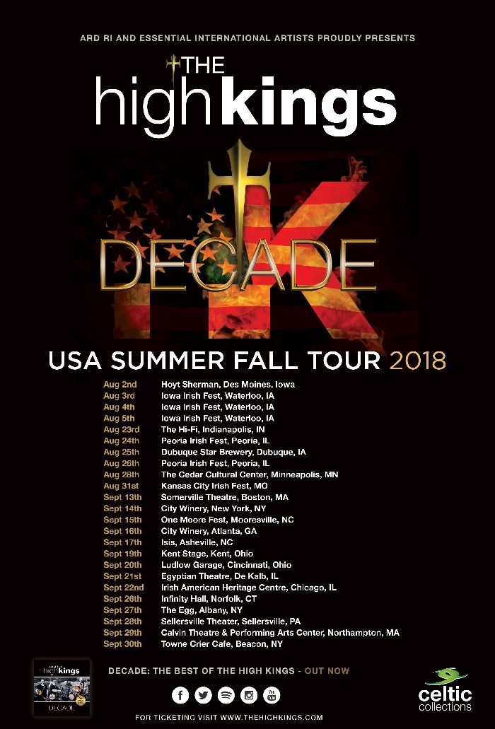 The High Kings announce Summer & Fall US Tour Dates.