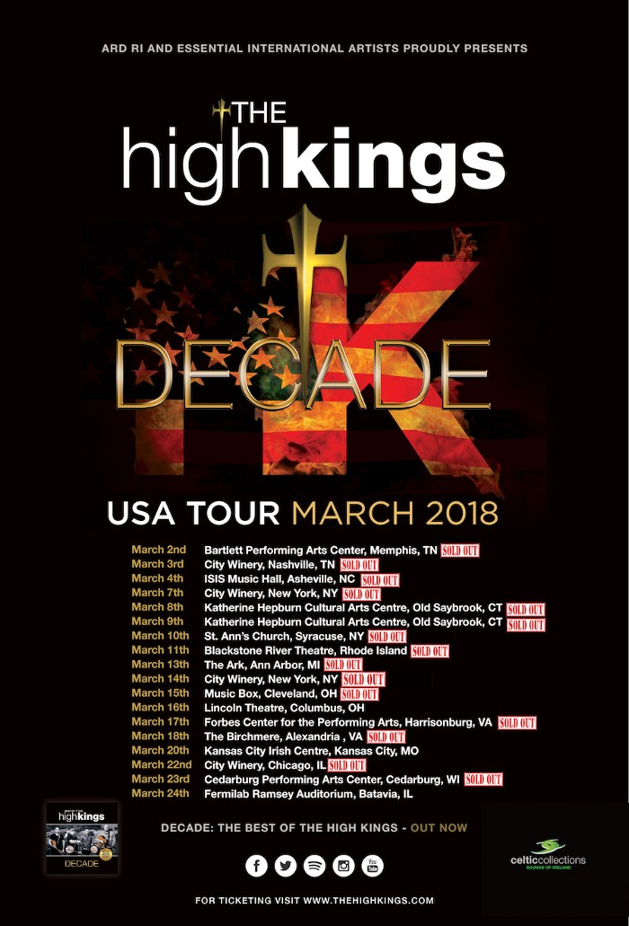 The High Kings US Tour posts Record Ticket Sales!