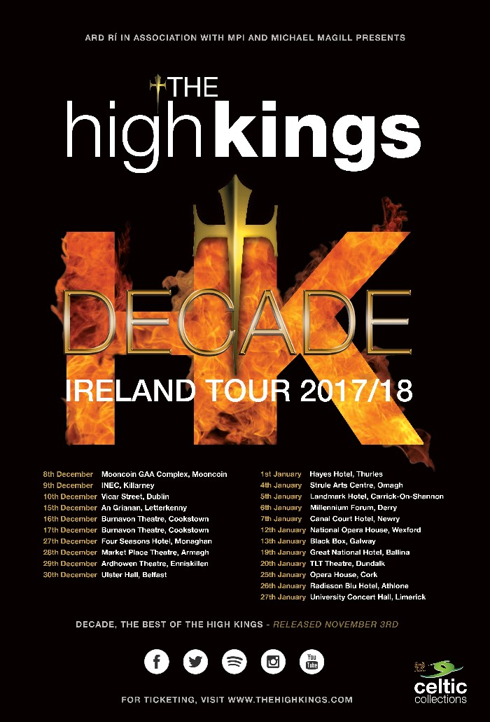 The High Kings Forthcoming Irish Tour Dates Revealed.