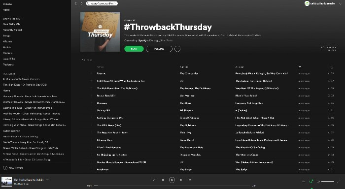 The High Kings 'Rocky Road To Dublin' added to Spotify 'Throwback Thursday' playlist.