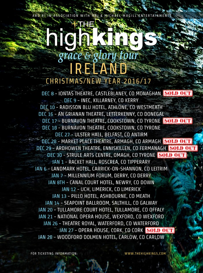 The HIgh Kings Irish Tour Dates - Shows Selling Out